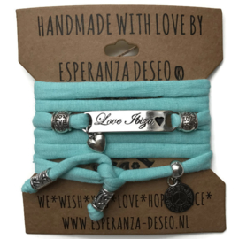 3 x Silver color text bracelets - Light turquoise green