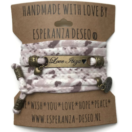 3 x Bronze color text bracelets - Print taupe and pale pink