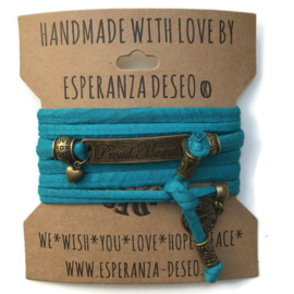 3 x Bronze color text bracelets - Dark turquoise