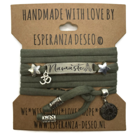 3 x Silver color text bracelets - Light Army green