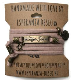 3 x Bronze color text bracelets - Pale taupe