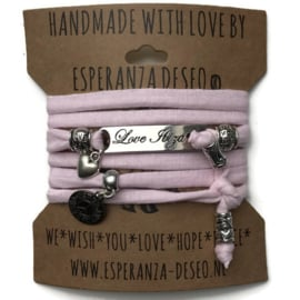3 x Silver color bar bracelets - Pastel pink