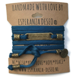 3 x Bronze color text bracelets - Petrol blue