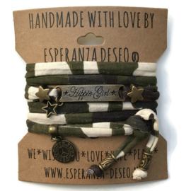 3 x Bronze color text bracelets - Army print