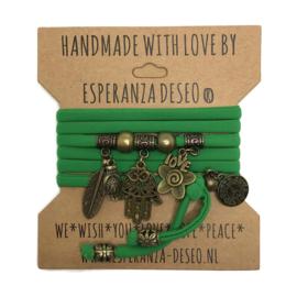 Lycra wikkelarmband - Hamsa - groen