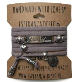 3 x Silver color bar bracelets- Purple taupe