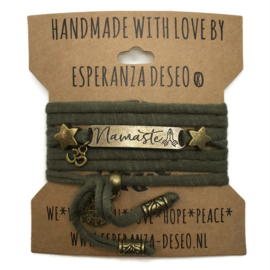 3 x Bronze color text bracelets - Dark olive  green