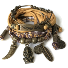 Set charm Ganesha - Enjoy Life - bronze oker and brown