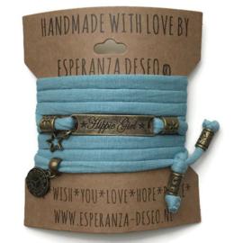 3 x Bronze color text bracelets - Vintage dark mint