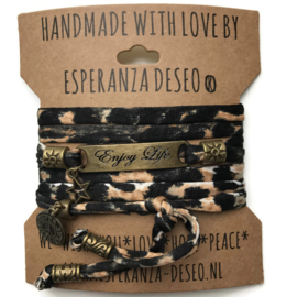 3 x Bronze color text bracelets -Leopard print black white brown