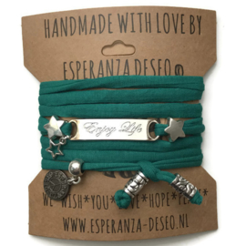 3 x Silver color text bracelets - Gras green