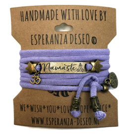 3 x Bronze color text bracelets - Unicorn glitter lila
