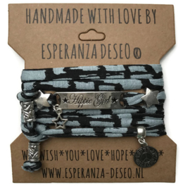 3 x Silver color text bracelets - Grey blue and black print