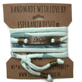 3 x Bronze color text bracelets - Mint flowers print