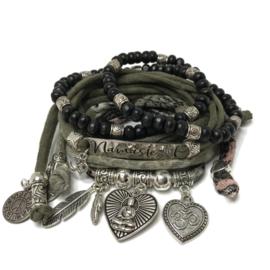 Set Buddha love  - Namaste  - Army green - katoen