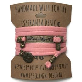3 x Bronze color text bracelets - Pastel salmon