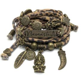 Lycra set leopardprint - Namaste - Ganesha brons