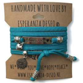 3 x Silver color text bracelets - Dark turquoise