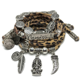 Lycra set leopardprint - Namaste - Ganesha zilver