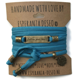 3 x Bronze color text bracelets - Blue water sky lycra