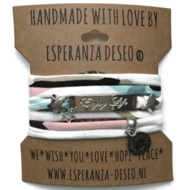 3 x Silver color bar bracelets - Black and white mint and pink
