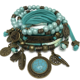 Set Love Ibiza - Turquoise steen - print turquoise