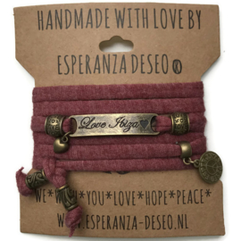 3 x Bronze color text bracelets - Gemeleerd brick