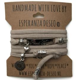 3 x Silver color bar bracelets - Light taupe