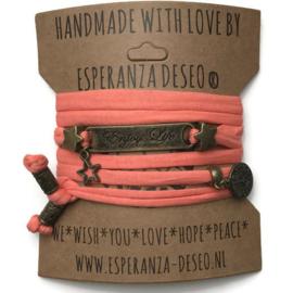 3 x Bronze color text bracelets - Salmon