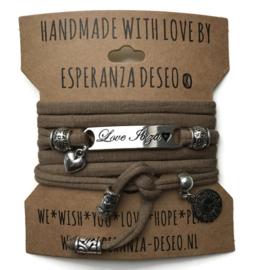 3 x Silver color bar bracelets - Mud taupe