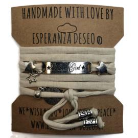 3 x Silver color bar bracelets - sand