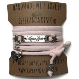 3 x Silver color bar bracelets - Pale pink