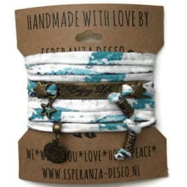 3 x Bronze color text bracelets - Print white turquoise