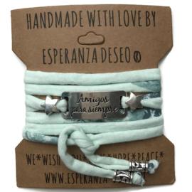 3 x Silver color text bracelets - Mint flowers print