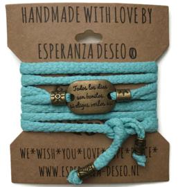 3 x Bronze color text bracelets - Light turquoise snake print