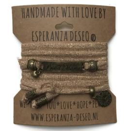 3 x Bronze color text bracelets -Camel gold lurex