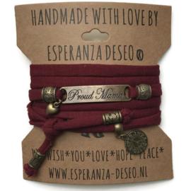3 x Bronze color text bracelets - Bordeaux red