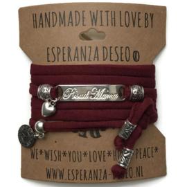 3 x Silver color text bracelets - Bordeaux red