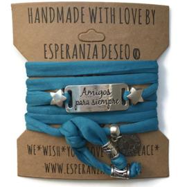 3 x Silver color text bracelets - Blue water sky lycra
