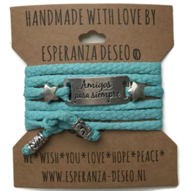3 x Silver color text bracelets - Light turquoise snake print