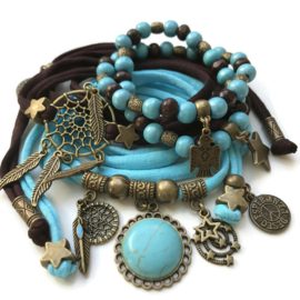 Set dreamcatcher - turquoise stone - bronze color