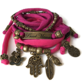 Set Hamsa - Proud Mama hard pink and fuchsia pink