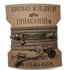 3 x Bronze color text bracelets - Mud taupe
