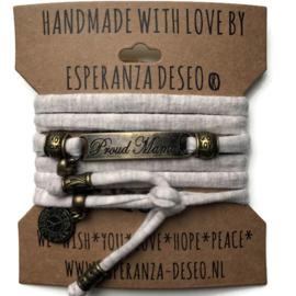 3 x Bronze color text bracelets - Sand gemeleerd