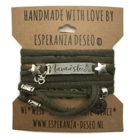 3 x Silver color text bracelets - Dark Olive greem