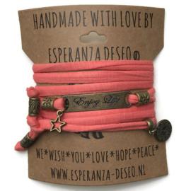 3 x Bronze color text bracelets - Dark salmon