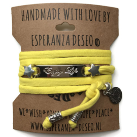 3 x Silver color bar bracelets - Yellow