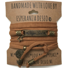 3 x Bronze color text bracelets - Camel brown