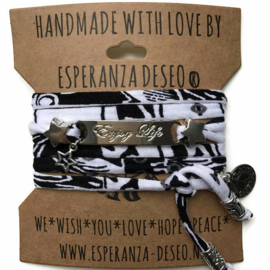 3 x Silver color text bracelets - Black and white