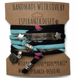 3 x Silver color bar bracelets - print black turquoise pink